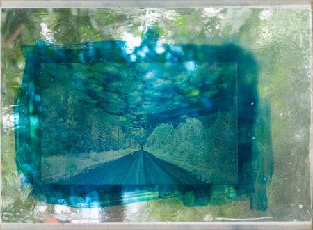 Les chemins de l'oubli, expérimentation cyanotype sur verre